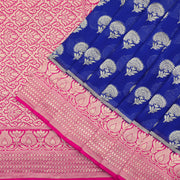Banarasi georgette saree in royal blue and magenta pink