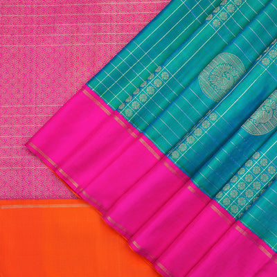Peacock green checked Kanchipuram silk saree