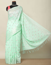 Aqua green pastel semi tussar saree