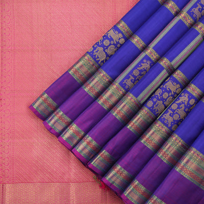 Royal blue and magenta kanjivaram saree