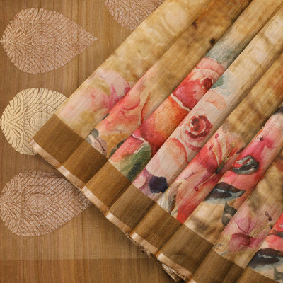 Golden beige tussar silk