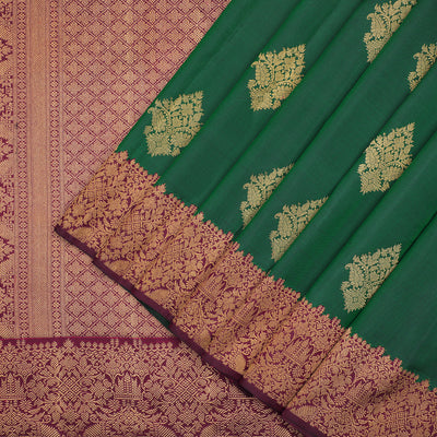 Bottle green pure Kanchipuram silk saree