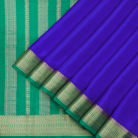 Royal blue and jade green Mysore crepe Silk Saree