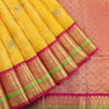 Kanchi kora sari in bright yellow