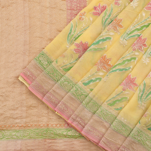 Light Yellow Banarasi Georgette Saree