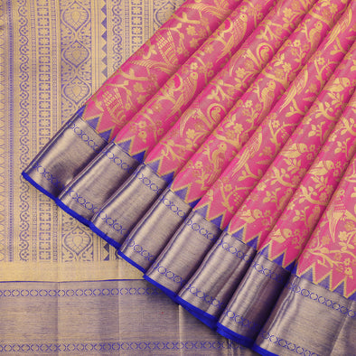 Hot pink gold zari tissue saree