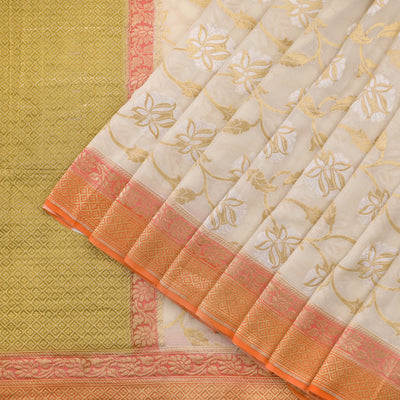 Cream Kadhi Georgette Saree