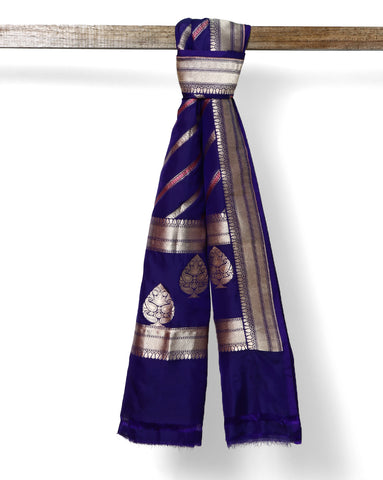 Dark Purple pure Banarasi silk dupatta with zari border