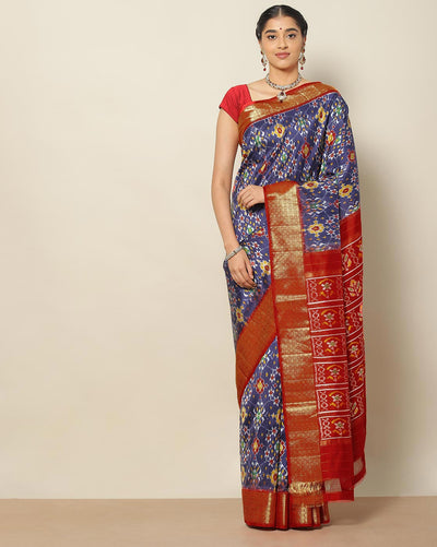 Navy blue pure Ikat patola silk saree
