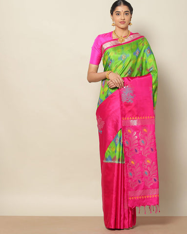 Parrot green pure soft silk ikat saree