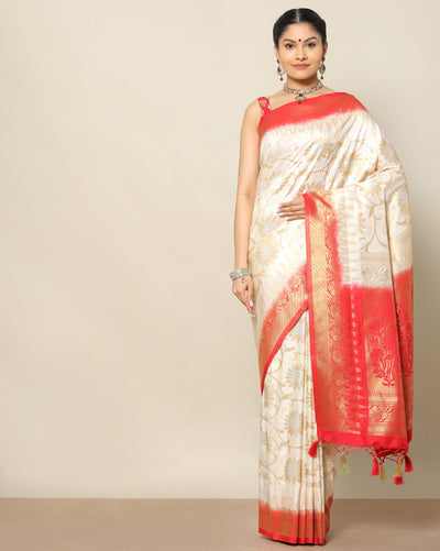 Banarasi cream silk saree