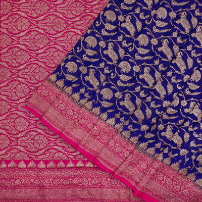 Ink blue pure Banarasi georgette saree