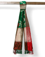 Leaf Green pure banarasi silk dupatta with Red zari border