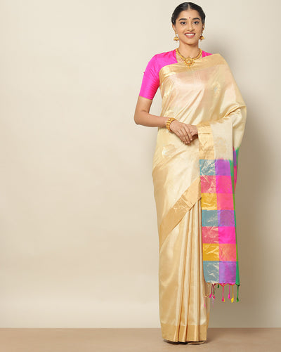 Cream pure soft silk saree