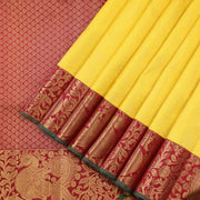 Daisy Yellow and Maroon Kanjivaram Saree