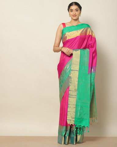 pink pure soft silk saree