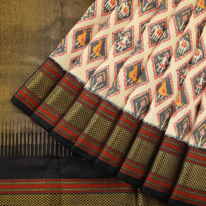 Beige and black Pure silk ikat patola saree