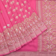 Banarasi georgette patli saree in hot pink