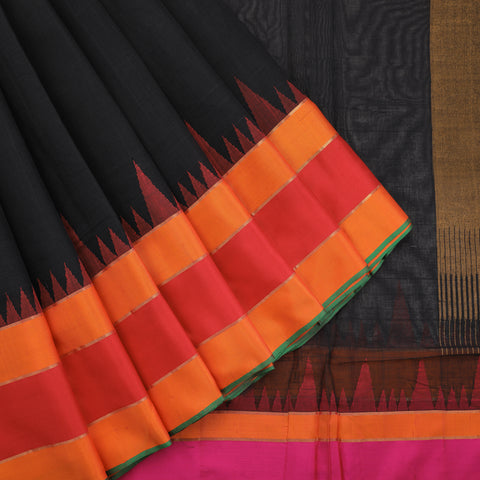 Black Pure Khadi Cotton Saree