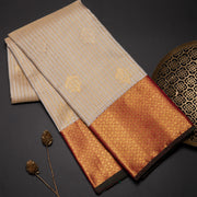 Beige checks Kanjivaram Silk Saree