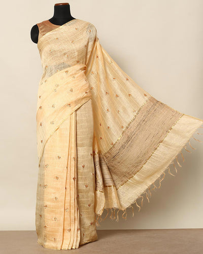 Beige linen borderless saree