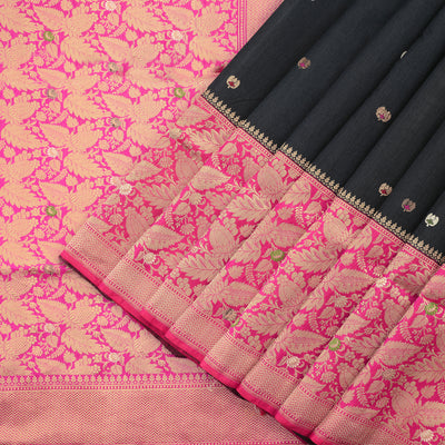Coal Black Handloom Banarasi Silk Saree