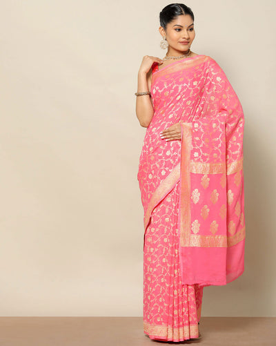 Peachish pink banarasi georgette saree