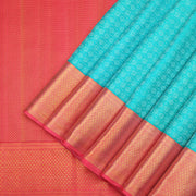 Kanchipuram silk saree in brilliant turquoise blue