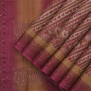 Beige and magenta tussar silk saree