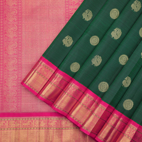 Bottle Green and Magenta Pink Kanjivaram Silk Saree