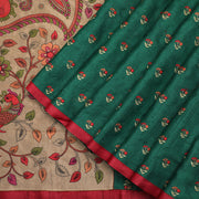 Bottle green tussar dupion pure silk saree