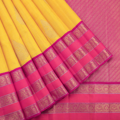 Yellow  peacock butta kanjivaram saree
