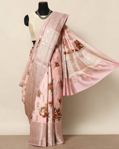 Pure soft tussar baby pink saree
