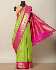 Parrot green Bangalore art silk saree