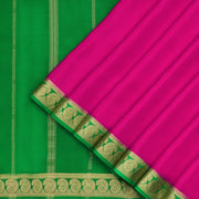 Candy pink and Parrot Green Mysore crepe Silk Saree