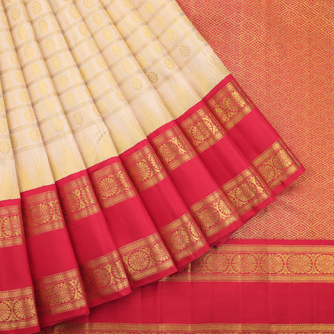 Cream and red striped kanjivaram saree