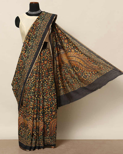 Pure printed silk black saree