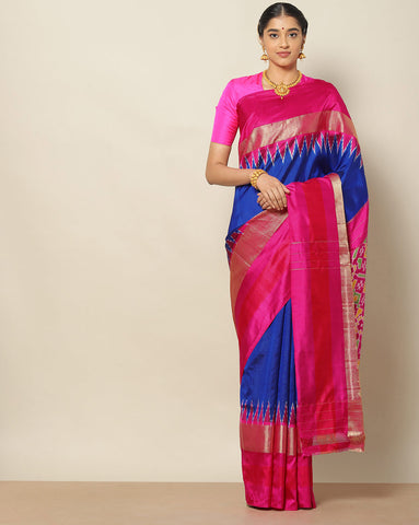 Royal blue Ikat patola saree