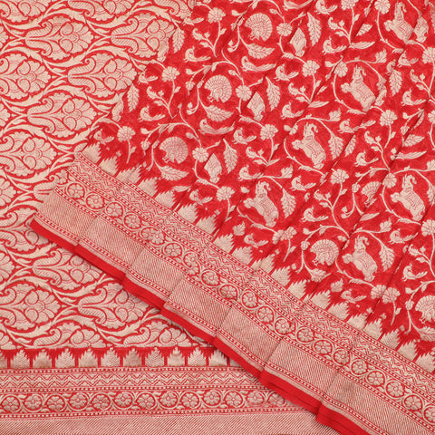Red shikargah banarasi georgette saree