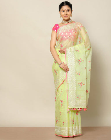 Pista green pure kota silk saree