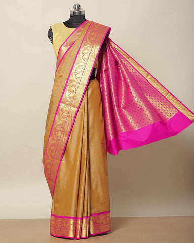 Chicku colour Bangalore art silk saree