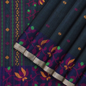 Dark Peacock Blue Jute Tussar Saree