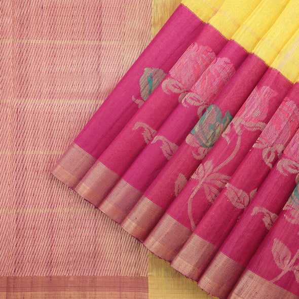 Sunflower Yellow Banarasi Tussar Saree