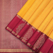 Yellow and maroon traditional Kanchipuram silk saree