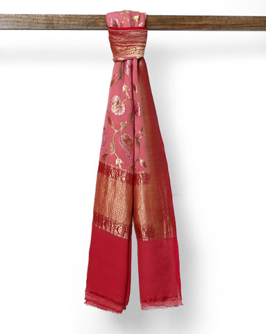Rose Pink pure Banarasi georgette dupatta with zari work