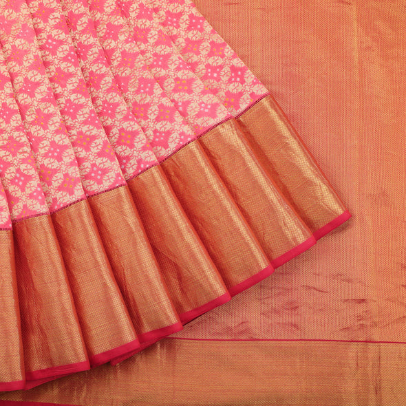 Pale peach banarasi georgette saree