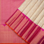 Off-white Kanchipuram silk saree