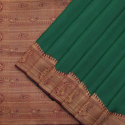 Traditional bottle green Kanchipuram silk saree