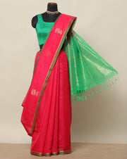 Strawberry pink cotton silk saree