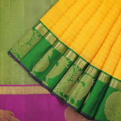 Turmeric yellow silk saree